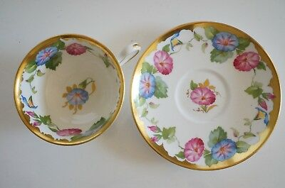 Royal Chelsea Tea Cup Saucer Set Morning Glory Leaves Flowers Heavy Gold #2