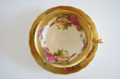 Vtg Royal Chelsea Golden Rose Gold Gilt Roses Teacup And Saucer Heavy Gold