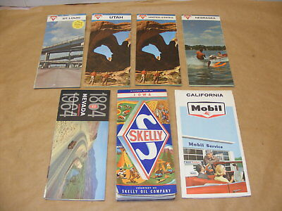 7 1960s Gas Station Oil Road Maps Mobil Skelly Conoco Calif Iowa United States