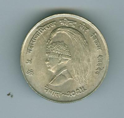 Nepal 1968 10 Rupees Silver Unc