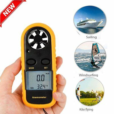 LCD Anemometer Air Wind Speed Gauge Test Temperature Thermometer Tool HM