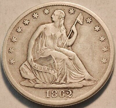 1862 S Seated Liberty Half Dollar, Higher Grade Better Date Silver 50C Type Coin