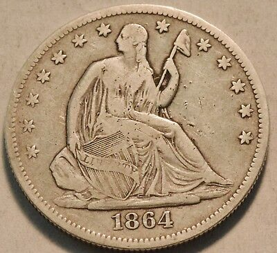 1864 P Seated Liberty Half Dollar, Middle Grade Details Better Date Silver 50C