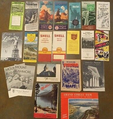 Lot of 22 Vintage 1930s 1940s 1950s United States Tourist Road Maps NYC OHIO