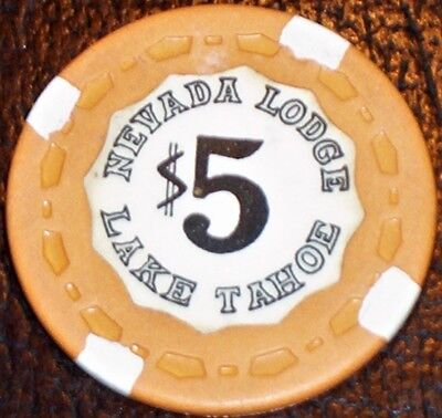 Old $5 NEVADA LODGE Casino Poker Chip Vintage Small Crown Lake Tahoe NV 1979