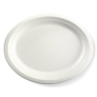 500x Disposable Oval Plate 318x254mm White Sugarcane Eco-Friendly Enviro NEW