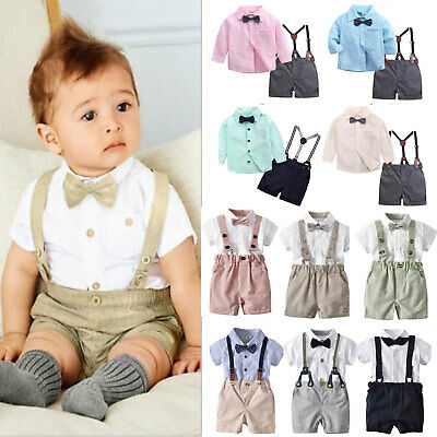 Kids Baby Boys Gentlemen Wedding Tops Shorts Outfit Suit Dungarees With Bow Tie