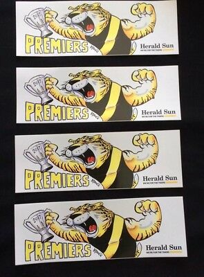 4 Afl Richmond Tigers 2017 Premiers Car  Bumper Sticker ..herald Sun Premiership