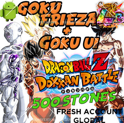 Dokkan - Goku & Frieza LR + Goku UI with 2000 Dragon Stones Fresh Global Battle