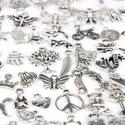 100pcs/lot DIY Mixed Silver Charms Pendants Craft Accessories for Jewelry Making