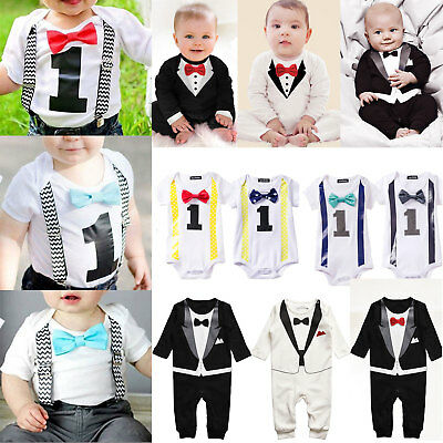 Baby Boys Gentleman Cotton Romper Jumpsuit First 1st Birthday Outfit Clothes Set
