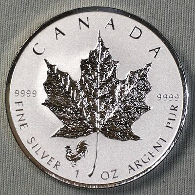 2017 Canada Maple Leaf - Rooster Privy - 1 oz Silver .9999 Purity  Reverse Proof