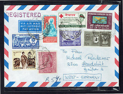 Nepal 1967 Registered Airmail Cover To West Germany - Used