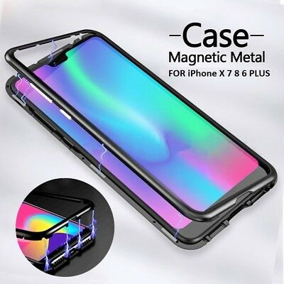 Magnetic Adsorption Metal Bumper Case Temper Glass Cover For Phone XS XR X 8 7 6