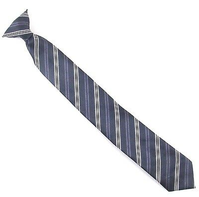 """Boys Clip On Neck Tie Gray Black Purple Striped 15.5"""" Long Youth Polyester"""
