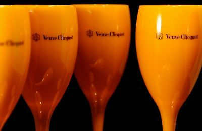 Veuve Clicquot VCP Yellow Label Acrylic Champagne Flute Glasses New Set of 4