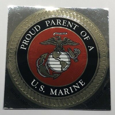 USMC Proud Parent of a U.S. Marine Corps Chrome Decal Car Bumper Sticker EGA
