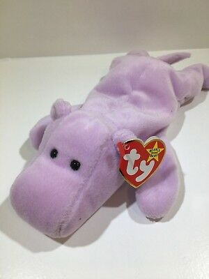 Ty Beanie Baby~Happy the hippo~1993~PVC~Retired~1993  393d58d3de8f