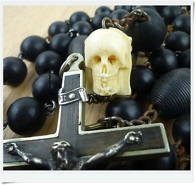 Huge french Antique XIX Victorian Nun Rosary with Hand carved Memento Mori 1850