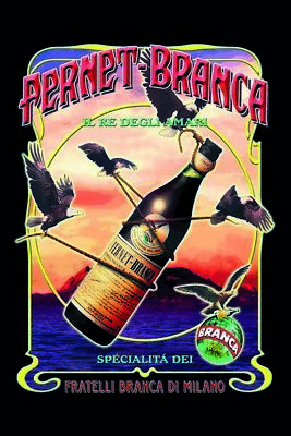 Fernet Branca Birds Metal Sign Signboard Arched Metal Tin Sign 7 7/8x11 13/16in