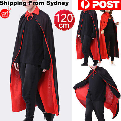 Adult Black Cape Cloak Robe Hooded Halloween Vampire Witch Wizard 120cm Two-side