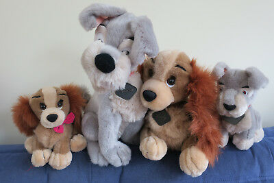 4 x Disney Store Lady & Tramp Large+Babies,Rare Collectable soft kids Toys.Plush