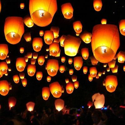 50/100 White Paper Chinese Lanterns Sky Fly Candl Lamp for Parties Weddings