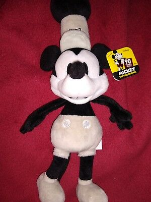 """Rare! NWT DISNEY'S """"Steamboat Willie"""" MICKEY MOUSE 90 Years 11"""" Plush! FREE S/H!"""