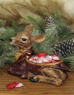 Victorian Trading Co Deer Fawn Christmas Candy Dish Free Ship NIB