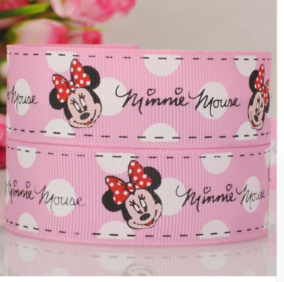 1 metre Minnie Mouse baby pink grosgrain ribbon 1 25mm