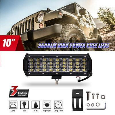10 inch 300W 36 LED Work Light Bar Flood Spot Driving Lamp SUV ATV Offroad 4WD