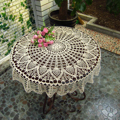 New Vintage Tablecloth Lace Crochet Round Table Cloth Handmade Doily Home Decor