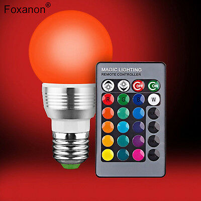 E27/E14 Bulb RGB 7W LED Light Color Changing Bulb+IR Remote Control Party Decor