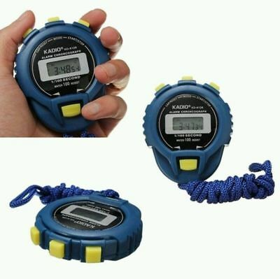 Blue Handheld LCD Digital Timer Stop Watch Sports Odometer Water Proof Stopwatch