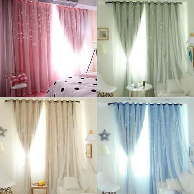 2 Layers Stars Hollow Curtains Blackout Eyelet Ring Top Curtain Mesh Lace Sheer