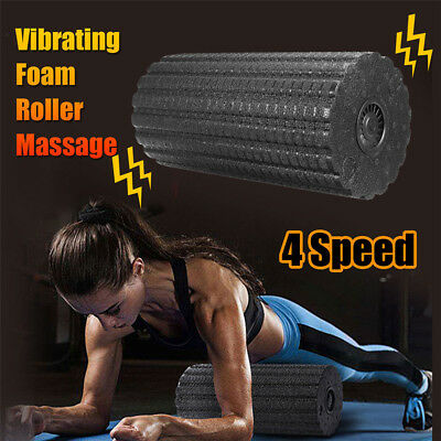 4 Speed Electric Rechargeable Vibrating Foam Roller Pilates Muscle Relax Massage