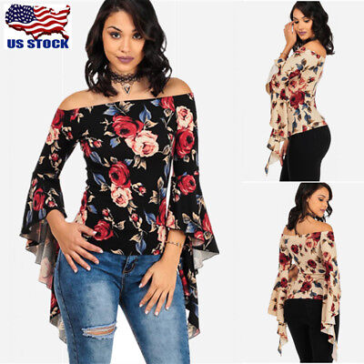 USA Womens Sexy Off Shoulder Blouse Tops Ladies Floral Ruffle Casual T Shirt Top