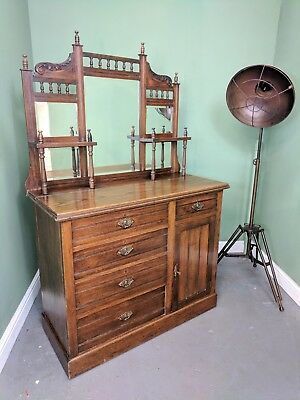 An Antique Victorian Oak Chiffonier Sideboard Cabinet ~Delivery Available~