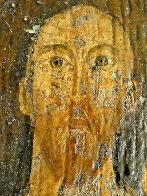 Antique Russian or Greek Orthodox Icon painted on thick wood - Gold & tempura