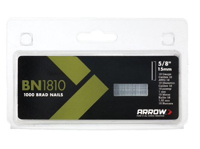 "Arrow brad nails 5/8"" 15mm 18 gauge 1000 Pack T50, ET100, ET200, ETF50  BN1810"