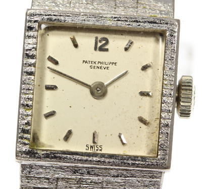 Patek Philippe White Gold Antique Ladies Women's Watch Hand Winding Silver Dial