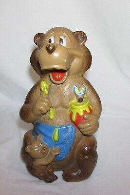 VTG Mama Bear Cub & Honey Pot Bank Bankers Systems INC Plastic 12""
