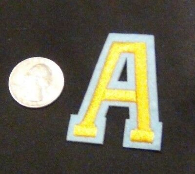 New Alphabet letters patch Varsity 2 inch yellow on blue Sew or Iron on letter