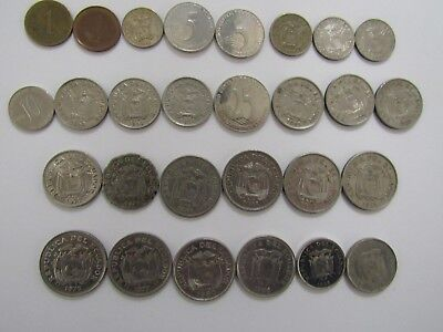 Lot of 28 Different Ecuador Coins - 1946 to 2003 - Circulated