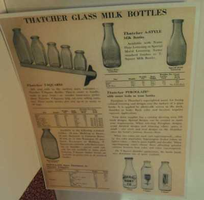 1950s Thatcher Glass Dairy Milk Bottle Ad w/ Mold & Silk-Screen Lettering Poster