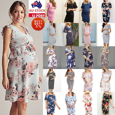 AU 10 Style Pregnant Women Summer Mini Dress Maternity Casual Party Sundress