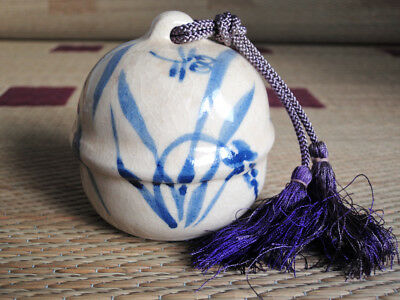 3 inch Japanese Ceramic Bell : design dragonfly and grass