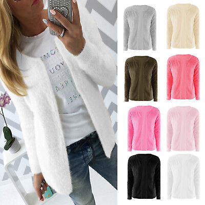 DAMEN SWEATER PULLOVER Jacken Pulli Mantel Fleece Teddyfell