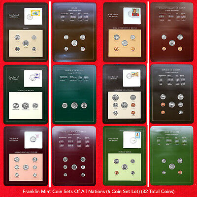Franklin Mint Coin Sets Of All Nations (6 Set Coin Lot) (32 Total Coins) All Bu