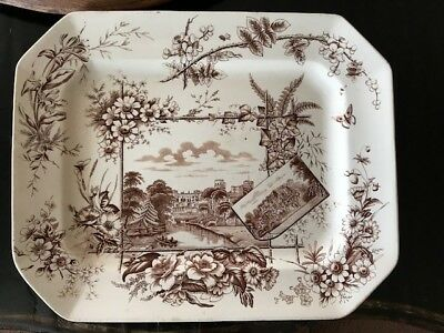 Anitque brown Transferware platter in Aesthetic style